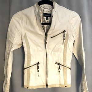 Le Chateau cream vegan leather moto jacket